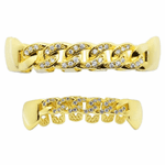 Gold Cuban Link CZ Bling Grillz Set