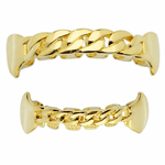 Gold Cuban Link Plain Fangs Set