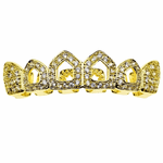 Gold CZ 4 Open Face Top Teeth Grillz