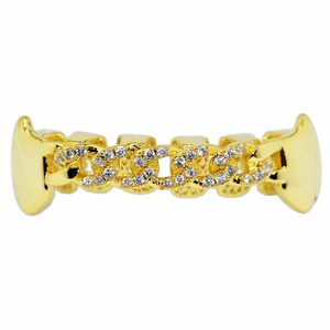 Gold Cuban CZ Bottom Fang Grillz