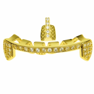 Gold CZ Gap & Bar Grillz Set