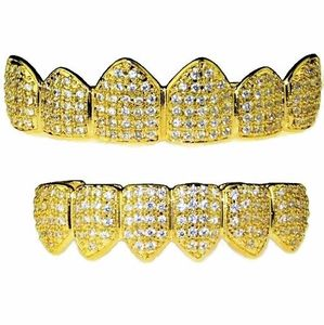 18K Gold Plated Set Micro Pave CZ Grillz