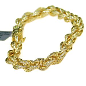 14K Gold Plated CZ Rope Bracelet 8.5""