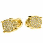 Gold CZ Round Earrings