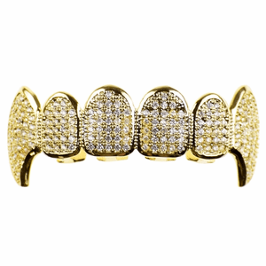 Premium Gold CZ Top Fang Grillz