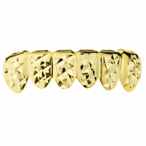 Gold Diamond-Cut Bottom Teeth Grillz