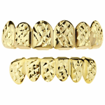 Gold Diamond Cut Grillz Set