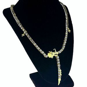 Gold Dragon 1-Row Tennis Chain 24""
