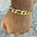 "Gold Plated Figaro Bracelet 9"" x 12mm"