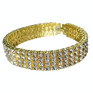 14k Gold Plated 4-Row Bracelet 8""