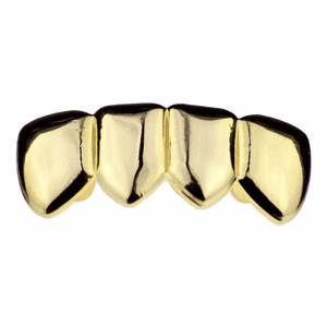 14K Gold Plated 4 Bottom Teeth Grillz