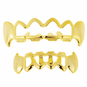 Gold Grillz 4 Full Open Face Fangs Set