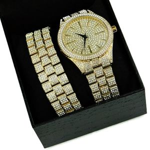 "Yellow Gold ""Hour Marks"" Watch Set"