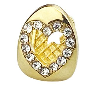 Gold Plated Iced Open Top Heart Cap