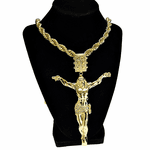 "Gold Huge Jesus Body 30"" Rope Chain"