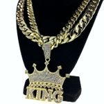 "Crown King Gold 30"" Two Cuban Chains"