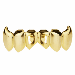 Gold Lower 2-Open Fang Grillz