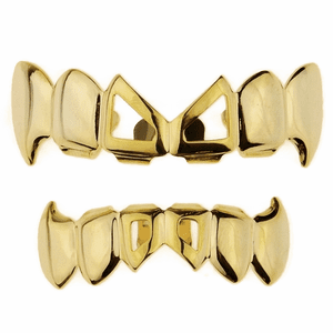 Gold 2-Open Bow Tie Fang Grillz Set