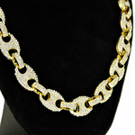 Gold Mariner Iced-Out Chain 16""