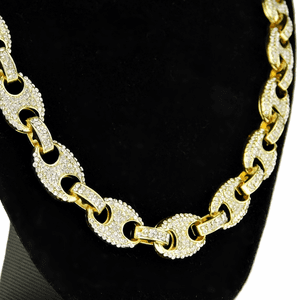 """Gold Mariner Iced-Out Chain 30"""""""