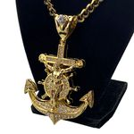Huge Gold Mariners Cross Anchor Chain