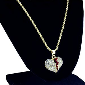"Micro Broken Heart  24"" Rope Gold Chain"