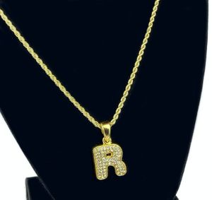 14K Gold Plated R Letter Rope Chain