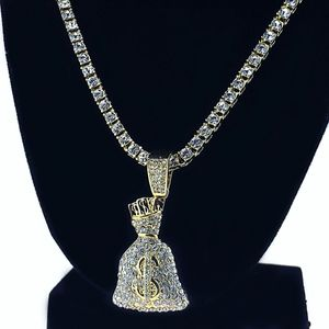 Gold Money Bag Tennis Chain 24""