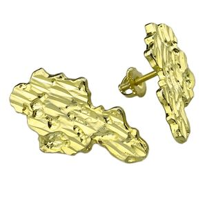 Gold over 925 27MM Nugget Earrings