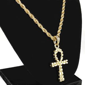Gold Nugget Ankh Cross Chain 24""