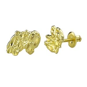 Gold over 925 14MM Nugget Earrings
