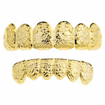Gold Nugget Teeth Grillz Set