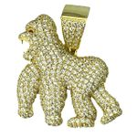 Gold Over 925 Silver Gorilla Pendant