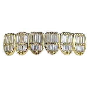 925 Gold Plated 6 Low Baguette Grillz