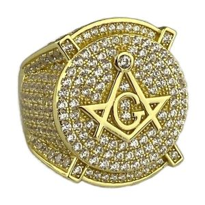 14K Gold Plated 925 Iced Masonic Ring