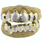 Gold Plated 2-Tone Diamond-Dust Custom Grillz