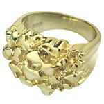 14K Gold Plated 925 Silver Nugget Ring