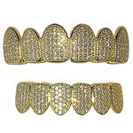 Gold 925 Micro Pave CZ Grillz Set