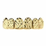 Gold  Diamond-Cut Top Teeth Grillz
