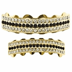Gold Black Bling 3-Row Grillz Set