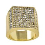 Square Side Pave Gold Bling Ring