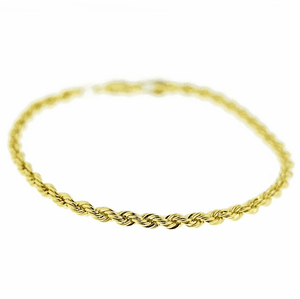 "Gold Rope Chain Bracelet 9"" x 3.5MM"