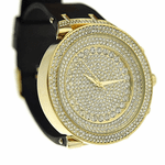 Gold Round Micro Pave Hip Hop Watch