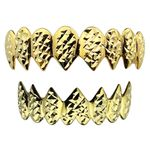 Gold Plated Shark Grillz Diamond Cut
