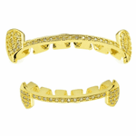 Gold Slim CZ Slim Bar Grillz Set