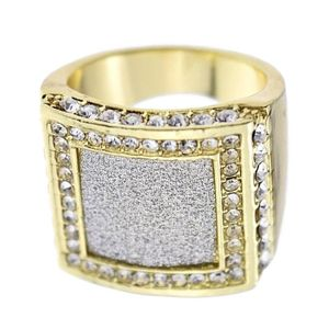 Square Sand Blast Gold Hip Hop Ring