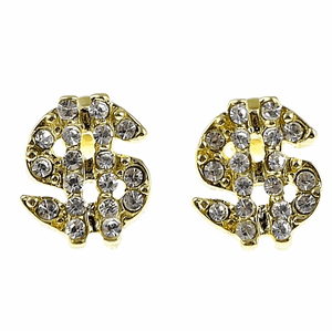 Gold Dollar Sign Bling Earrings