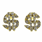 Gold Tone Dollar Sign Earrings
