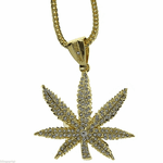 "Weed Leaf Gold 36"" Franco Chain"