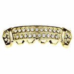 Gold 2-Row Side Bling Bottom Grillz